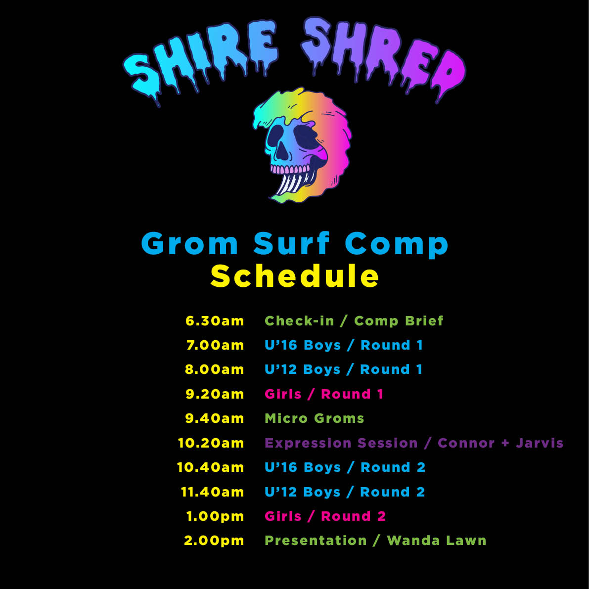 Shire Shred Comp Schedule